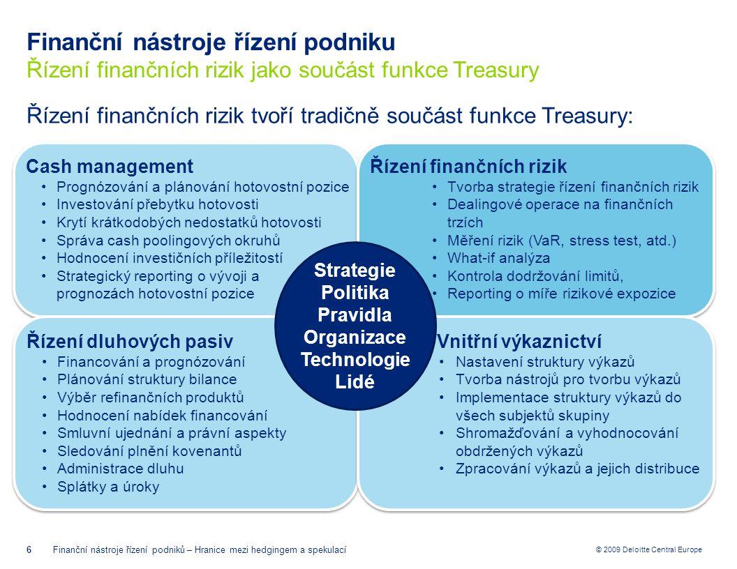 © 2009 Deloitte Central Europe Hranice mezi hedgingem a spekulací Hedging dle typu trhu 17Finanční nástroje řízení podniků – Hranice mezi hedgingem a spekulací netting paralelní (back-to-back) půjčky diverzifikace Přirozený hedging kombinace spotového nákupu měny a současného čerpání úvěru v jedné a depozita ve druhé měně u silně korelovaných měn lze využít i pro účely křížového hedgingu Hedging pomocí peněžního trhu krátkodobá rizika forwardy, futures, opce dlouhodbá expozice swapy Hedging pomocí termínového trhu (finančních derivátů)
