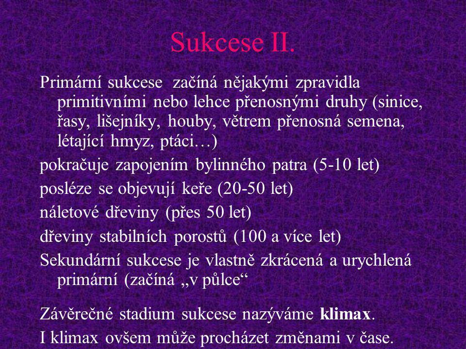 Sukcese II. Primární sukcese začíná nějakými zpravidla primitivními nebo lehce přenosnými druhy (sinice, řasy, lišejníky, houby, větrem přenosná semen