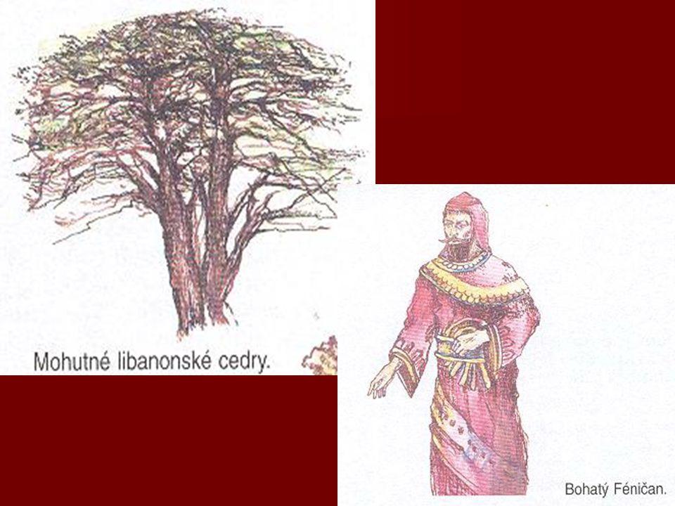   k barvení látek používali PURPUROVĚ červené barvivo  z mořského plže OSTRANKY   FOINOS = odvozeno z řeckého foiniks = purpurově červený   vývoz látek do celého Středomoří