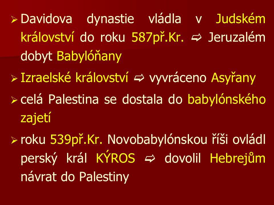   Davidova dynastie vládla v Judském království do roku 587př.Kr.  Jeruzalém dobyt Babylóňany   Izraelské království  vyvráceno Asyřany   celá