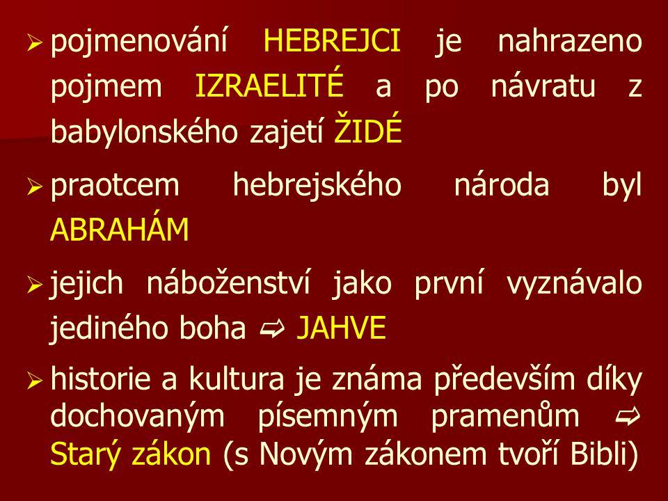   pojmenování HEBREJCI je nahrazeno pojmem IZRAELITÉ a po návratu z babylonského zajetí ŽIDÉ   praotcem hebrejského národa byl ABRAHÁM   jejich