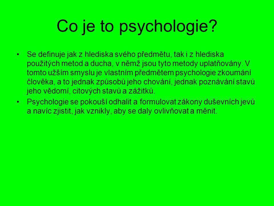 Moderní psychologie: Dnes existuje asi šest hlavních proudů moderní psychologie, mezi něž patří: – Hlubinná psychologie: vychází z Freuda lidské projevy jsou složitou souhrou vědomých a nevědomých procesů –Neohumanistická psychologie: zabývá se chováním člověka - vnější prostředí a chování organismu ovlivňuje vnitřní organismus –Neobehaviorismus: zakladatelem je Edward Tolman radikální behaviorismus, obnovení Watsonova učení.