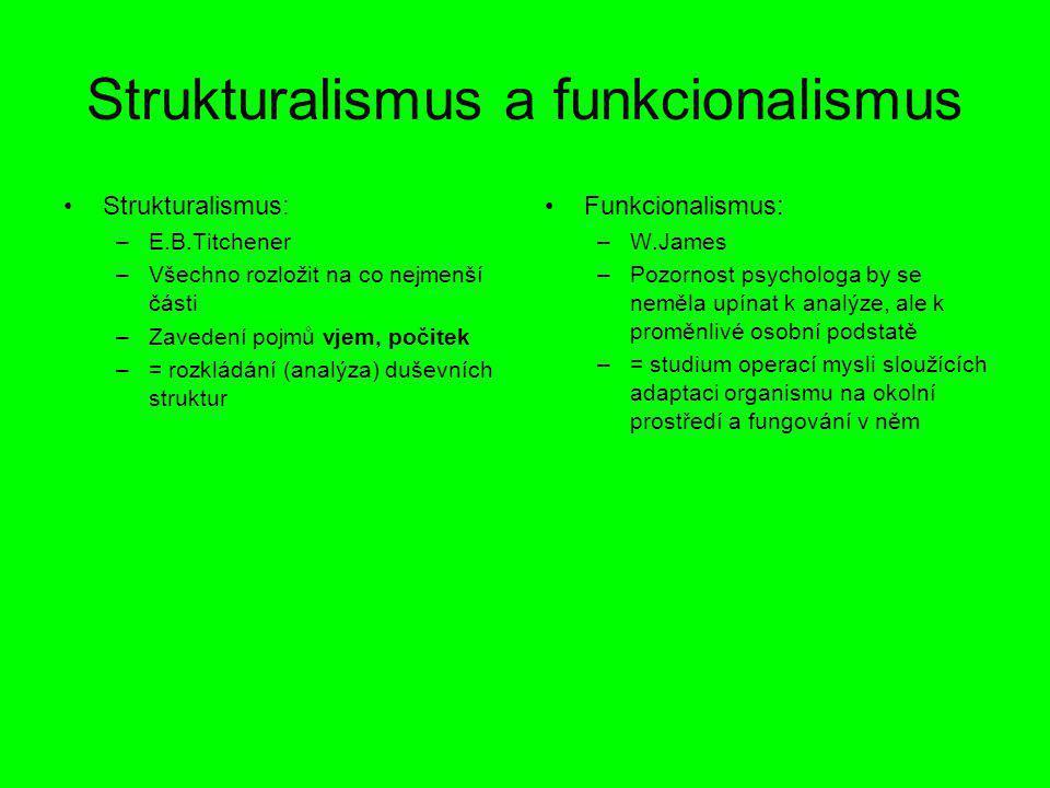 Strukturalismus a funkcionalismus Strukturalismus: –E.B.Titchener –Všechno rozložit na co nejmenší části –Zavedení pojmů vjem, počitek –= rozkládání (