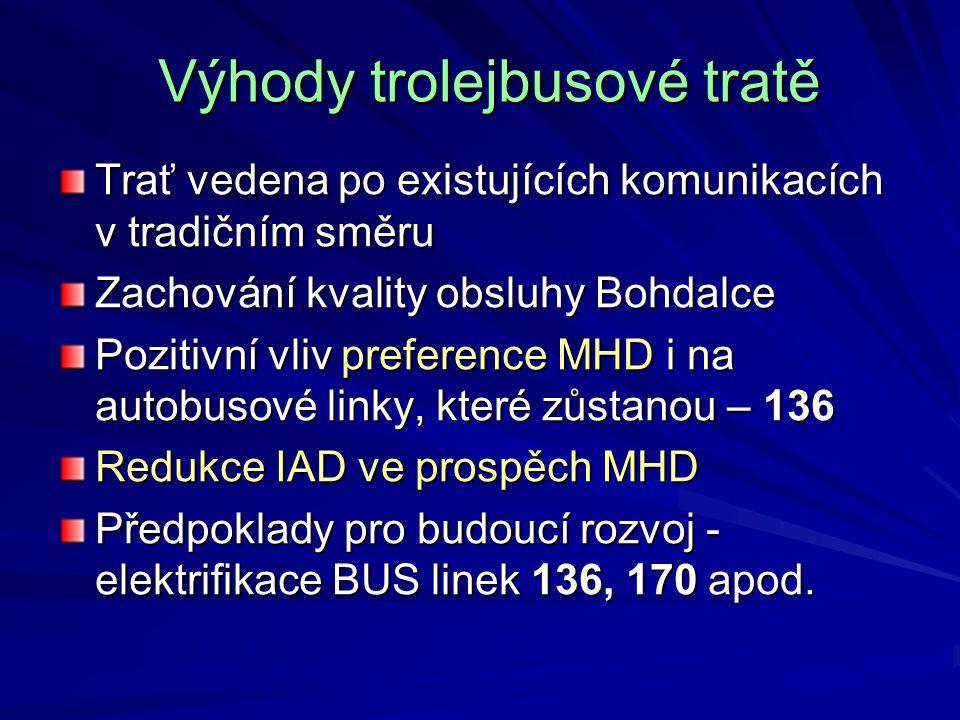 Výhody trolejbusové tratě Výhody trolejbusové tratě Trať vedena po existujících komunikacích v tradičním směru Zachování kvality obsluhy Bohdalce Pozi