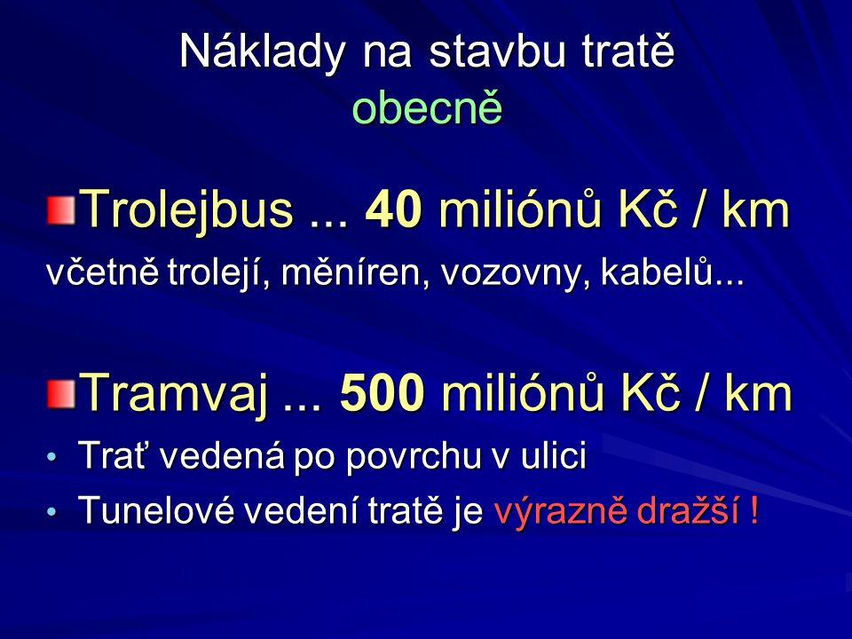 Náklady na stavbu tratě obecně Trolejbus... 40 miliónů Kč / km včetně trolejí, měníren, vozovny, kabelů... Tramvaj... 500 miliónů Kč / km Trať vedená