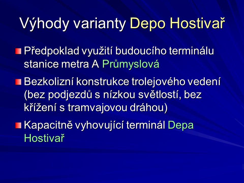 Výhody varianty Depo Hostivař Předpoklad využití budoucího terminálu stanice metra A Průmyslová Bezkolizní konstrukce trolejového vedení (bez podjezdů