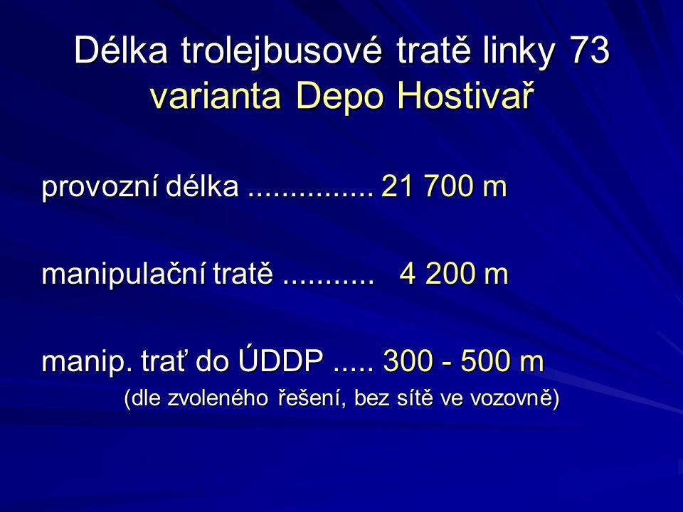 Délka trolejbusové tratě linky 73 varianta Depo Hostivař provozní délka............... 21 700 m manipulační tratě........... 4 200 m manip. trať do ÚD