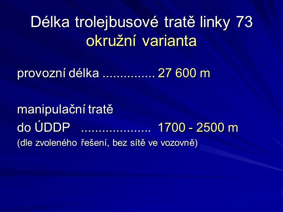 Délka trolejbusové tratě linky 73 okružní varianta provozní délka............... 27 600 m manipulační tratě do ÚDDP.................... 1700 - 2500 m