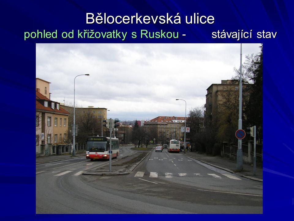 Bělocerkevská ulice pohled od křižovatky s Ruskou - stávající stav
