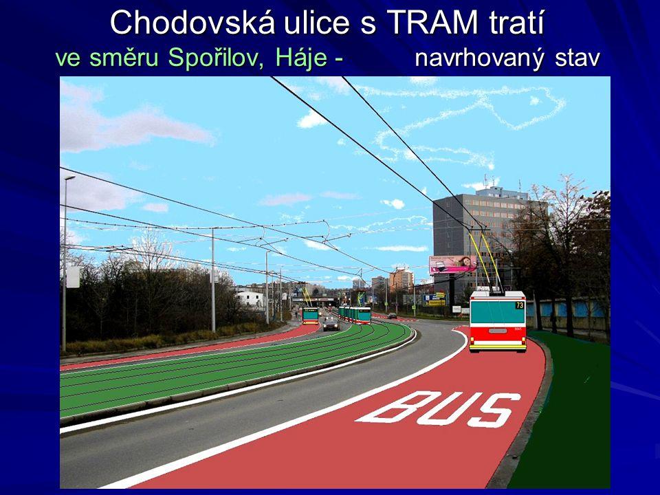Chodovská ulice s TRAM tratí ve směru Spořilov, Háje - navrhovaný stav