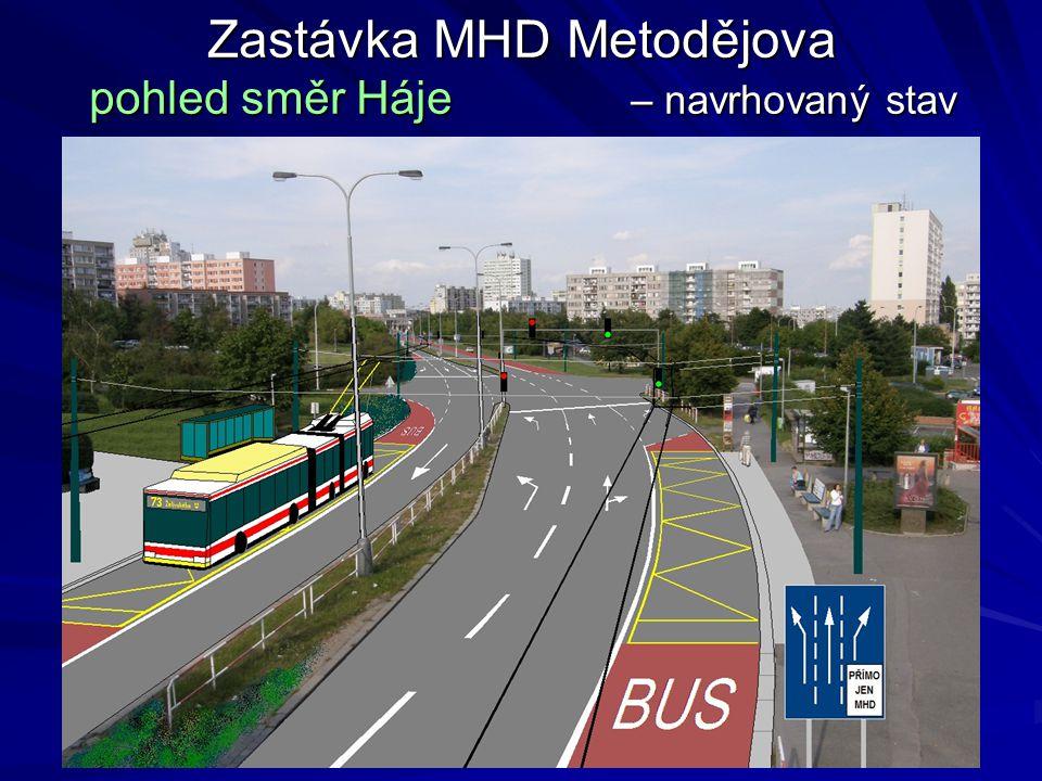 Zastávka MHD Metodějova pohled směr Háje – navrhovaný stav