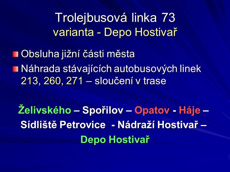 Trolejbusová linka 73 varianta - Depo Hostivař Obsluha jižní části města Náhrada stávajících autobusových linek 213, 260, 271 – sloučení v trase Želiv