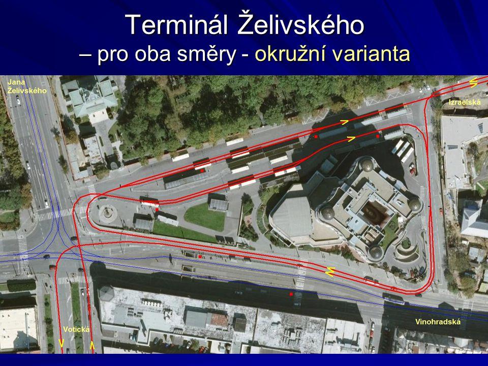 Terminál Želivského – pro oba směry - okružní varianta