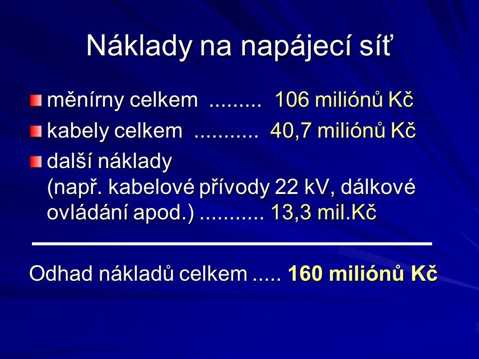 Náklady na napájecí síť měnírny celkem......... 106 miliónů Kč kabely celkem........... 40,7 miliónů Kč další náklady (např. kabelové přívody 22 kV, d