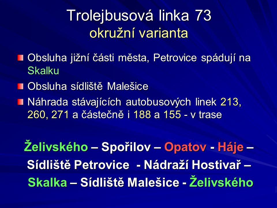Trolejbusová linka 73 okružní varianta Obsluha jižní části města, Petrovice spádují na Skalku Obsluha sídliště Malešice Náhrada stávajících autobusový
