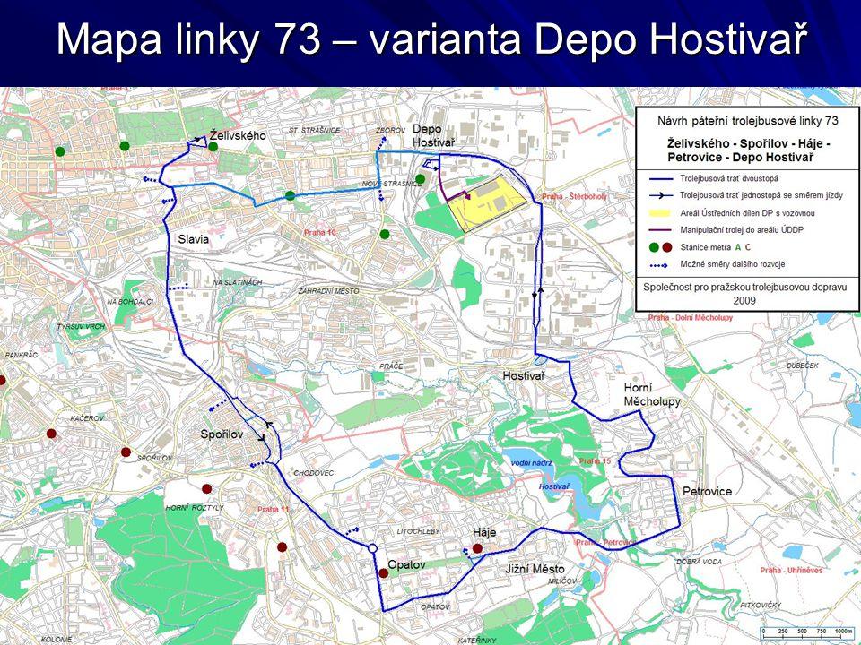 Mapa linky 73 – varianta Depo Hostivař