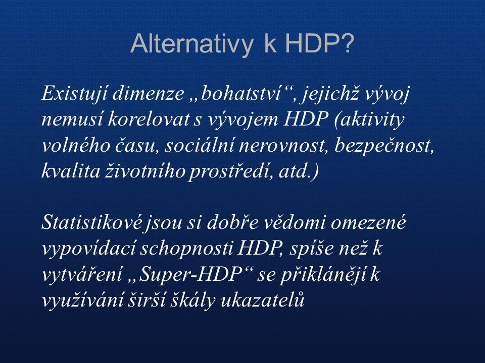 """Alternativy k HDP? Existují dimenze """"bohatství"""", jejichž vývoj nemusí korelovat s vývojem HDP (aktivity volného času, sociální nerovnost, bezpečnost,"""