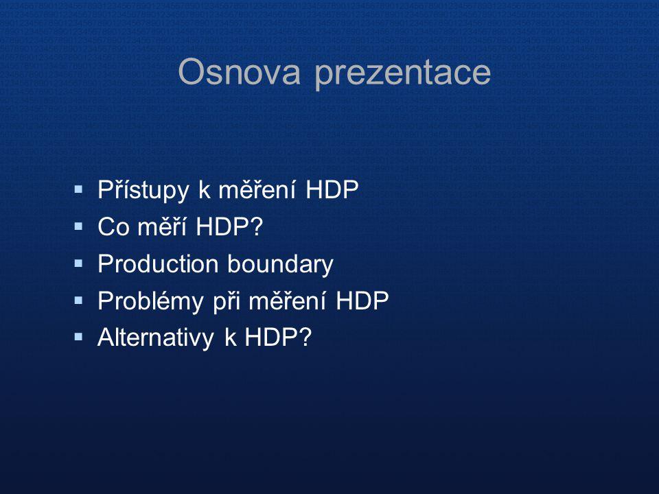  Přístupy k měření HDP  Co měří HDP?  Production boundary  Problémy při měření HDP  Alternativy k HDP? Osnova prezentace