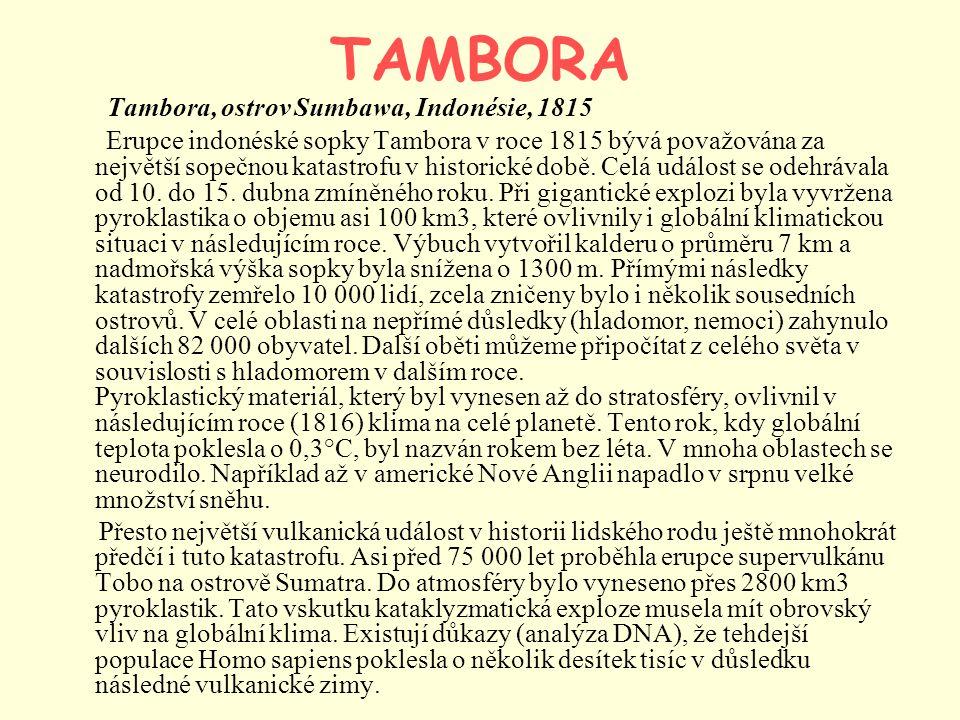 TAMBORA Tambora, ostrov Sumbawa, Indonésie, 1815 Erupce indonéské sopky Tambora v roce 1815 bývá považována za největší sopečnou katastrofu v historic