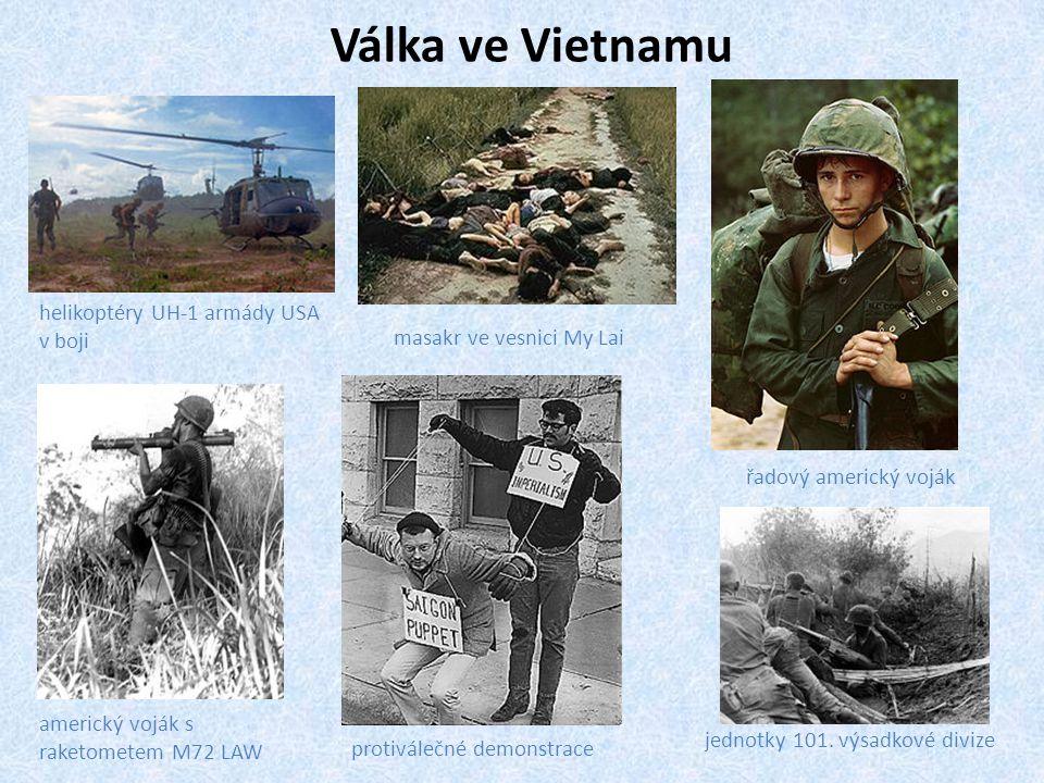 Válka ve Vietnamu helikoptéry UH-1 armády USA v boji masakr ve vesnici My Lai řadový americký voják americký voják s raketometem M72 LAW jednotky 101.