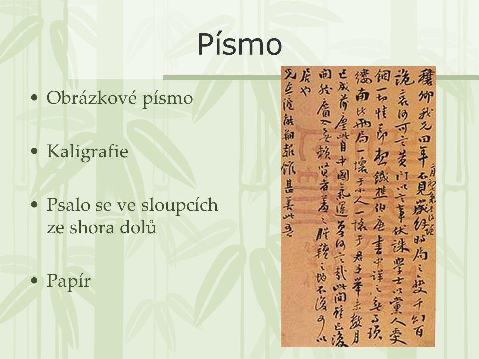 Písmo Obrázkové písmo Kaligrafie Psalo se ve sloupcích ze shora dolů Papír