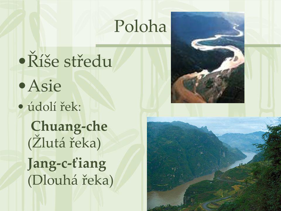Poloha Říše středu Asie údolí řek: Chuang-che (Žlutá řeka) Jang-c-ťiang (Dlouhá řeka)