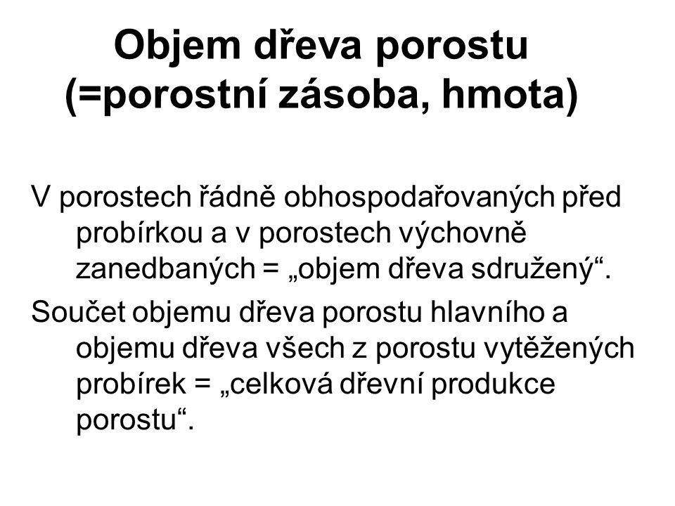 """Objem dřeva porostu (=porostní zásoba, hmota) V porostech řádně obhospodařovaných před probírkou a v porostech výchovně zanedbaných = """"objem dřeva sdr"""