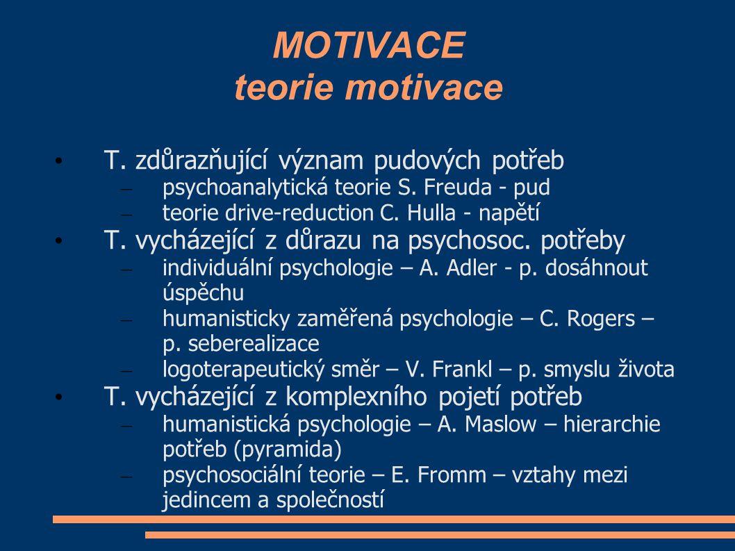 MOTIVACE teorie motivace T. zdůrazňující význam pudových potřeb – psychoanalytická teorie S. Freuda - pud – teorie drive-reduction C. Hulla - napětí T