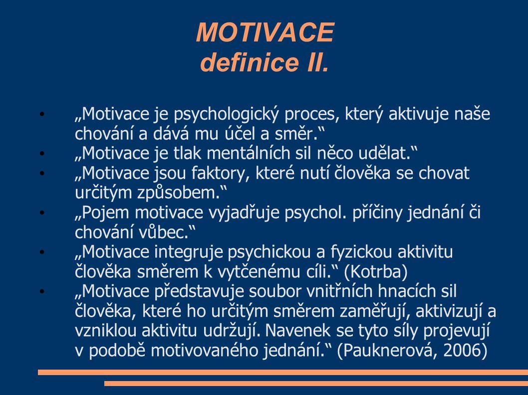 """MOTIVACE definice II. """"Motivace je psychologický proces, který aktivuje naše chování a dává mu účel a směr."""" """"Motivace je tlak mentálních sil něco udě"""