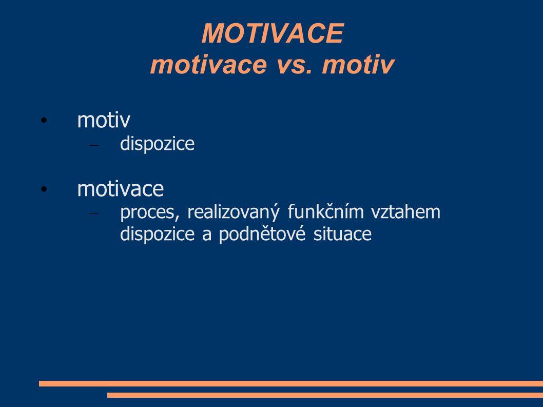 MOTIVACE motivace vs. motiv motiv – dispozice motivace – proces, realizovaný funkčním vztahem dispozice a podnětové situace