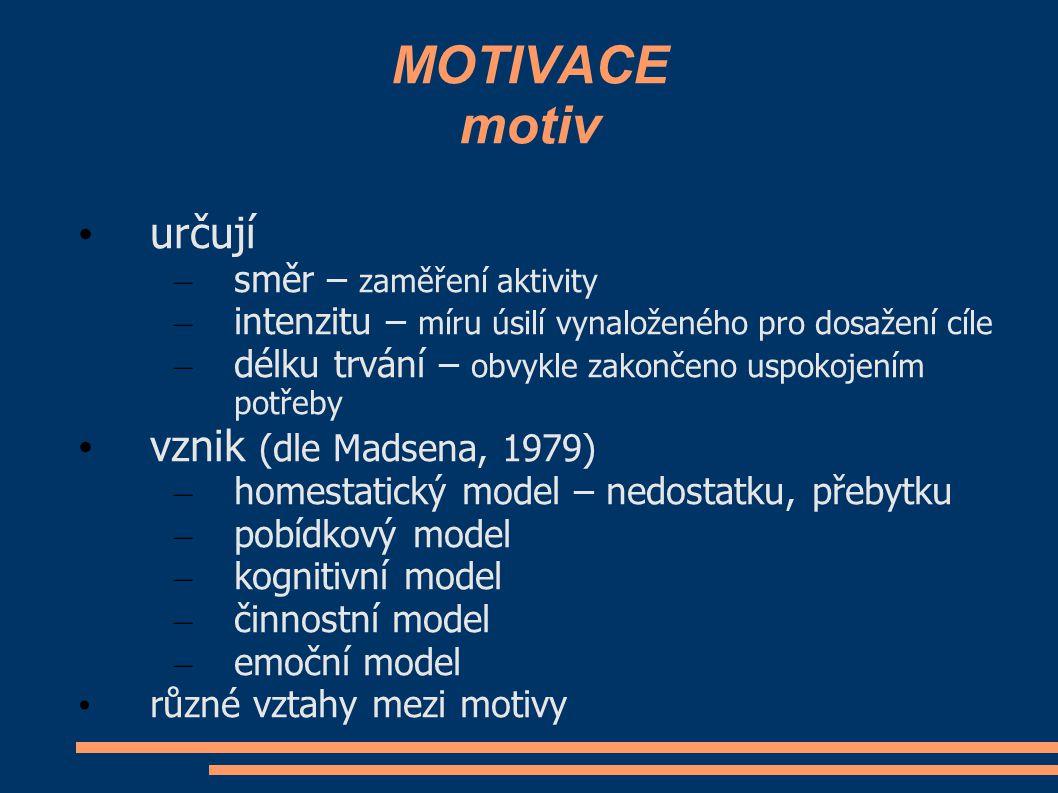 MOTIVACE motiv určují – směr – zaměření aktivity – intenzitu – míru úsilí vynaloženého pro dosažení cíle – délku trvání – obvykle zakončeno uspokojení