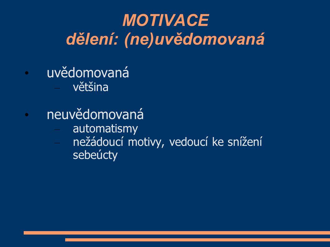 MOTIVACE dělení: (ne)uvědomovaná uvědomovaná – většina neuvědomovaná – automatismy – nežádoucí motivy, vedoucí ke snížení sebeúcty