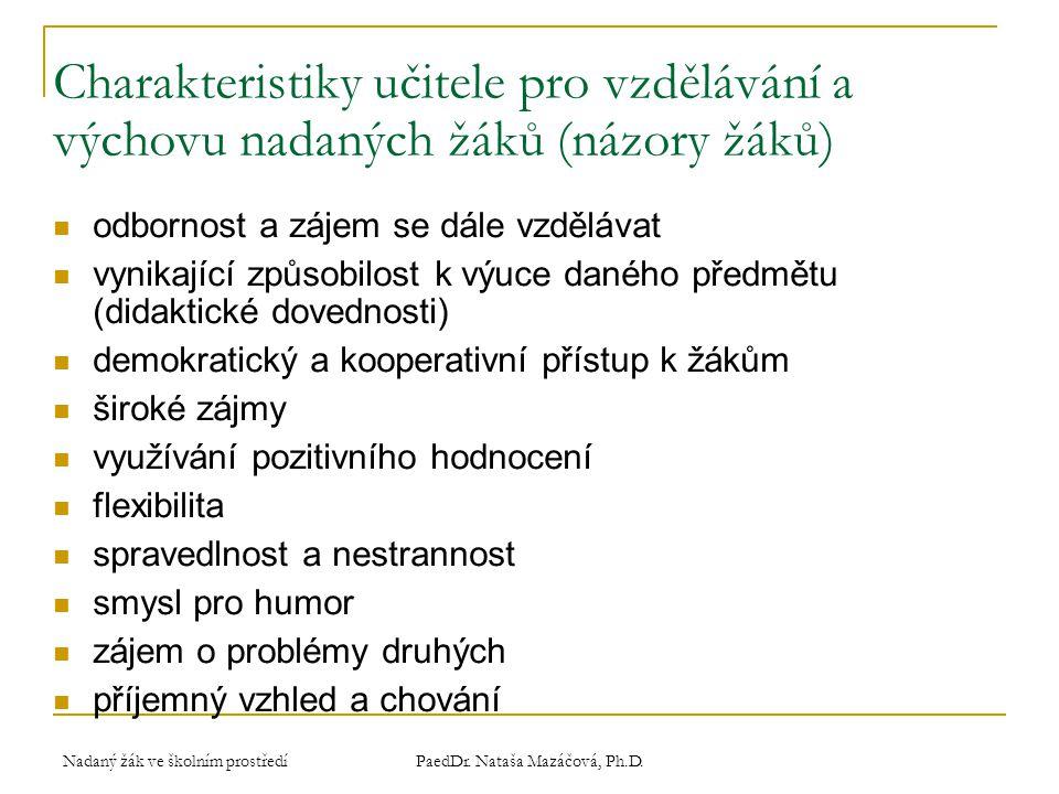 Nadaný žák ve školním prostředí PaedDr.Nataša Mazáčová, Ph.D.