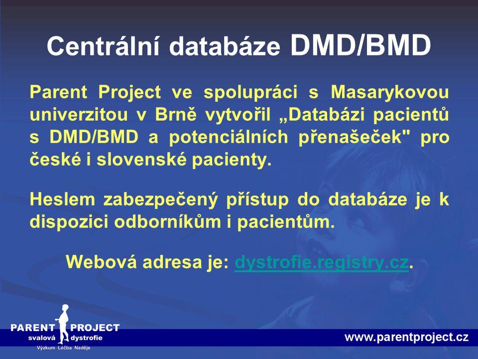 """Centrální databáze DMD/BMD Parent Project ve spolupráci s Masarykovou univerzitou v Brně vytvořil """"Databázi pacientů s DMD/BMD a potenciálních přenaše"""