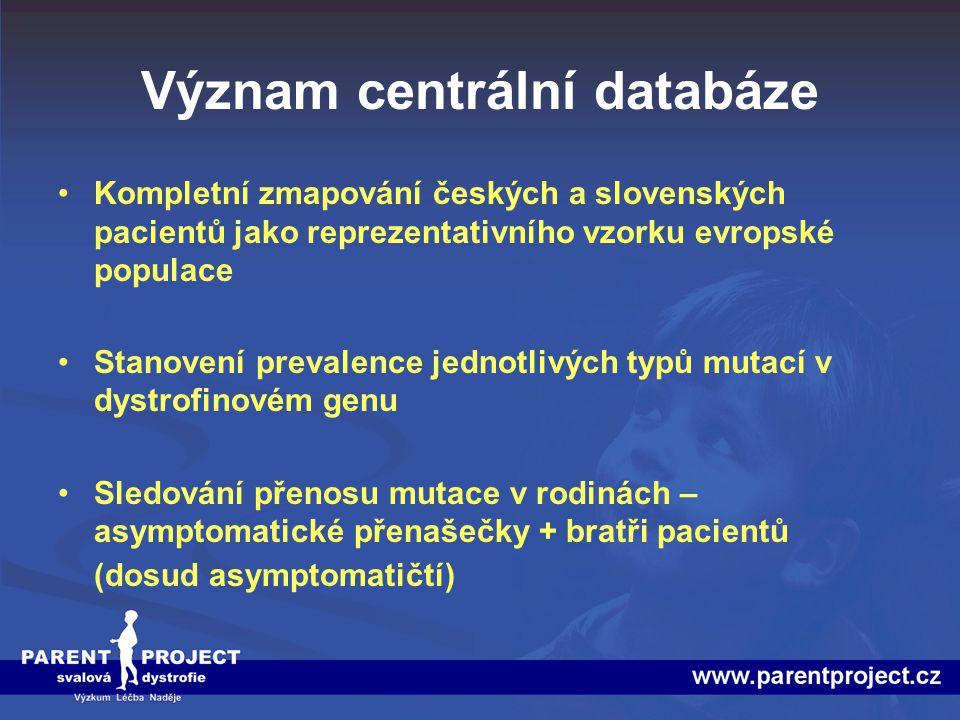 Význam centrální databáze Kompletní zmapování českých a slovenských pacientů jako reprezentativního vzorku evropské populace Stanovení prevalence jedn