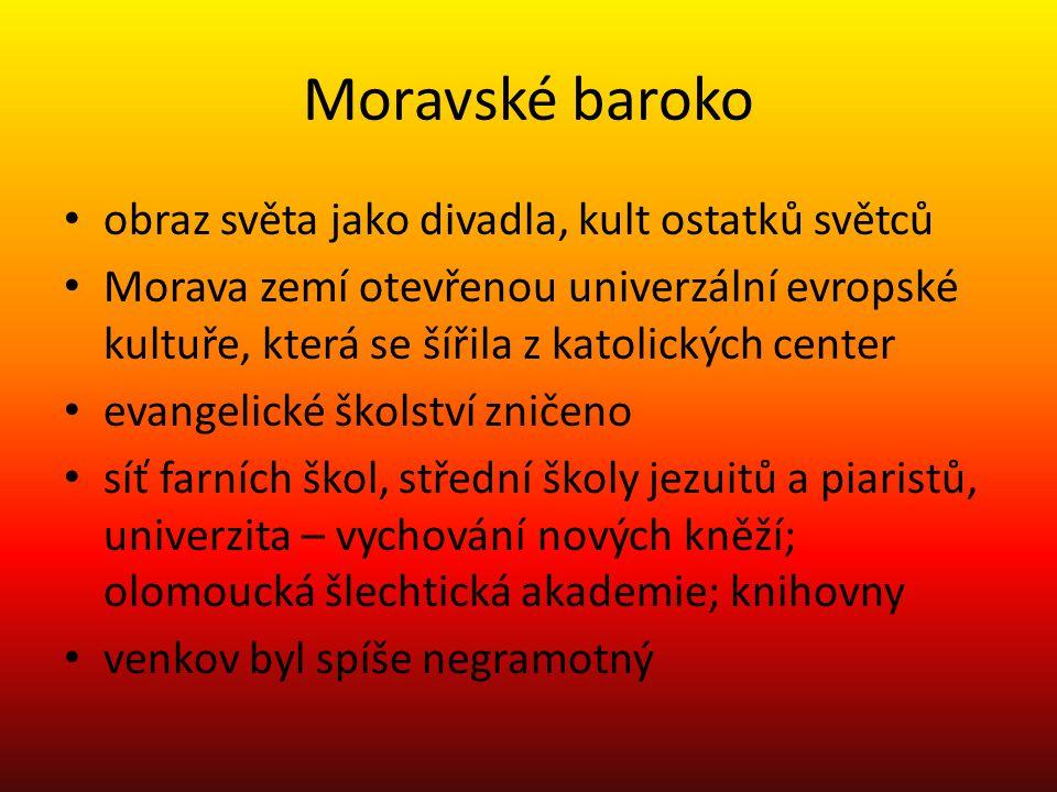Moravské baroko obraz světa jako divadla, kult ostatků světců Morava zemí otevřenou univerzální evropské kultuře, která se šířila z katolických center