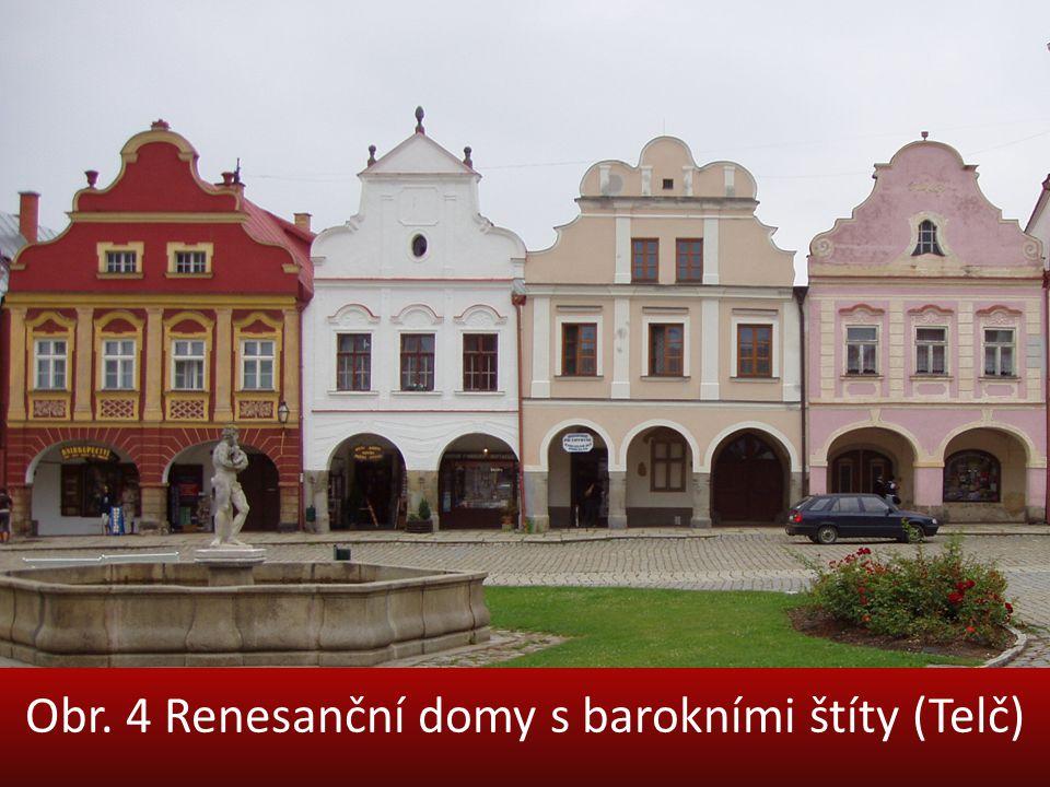 Obr. 4 Renesanční domy s barokními štíty (Telč)