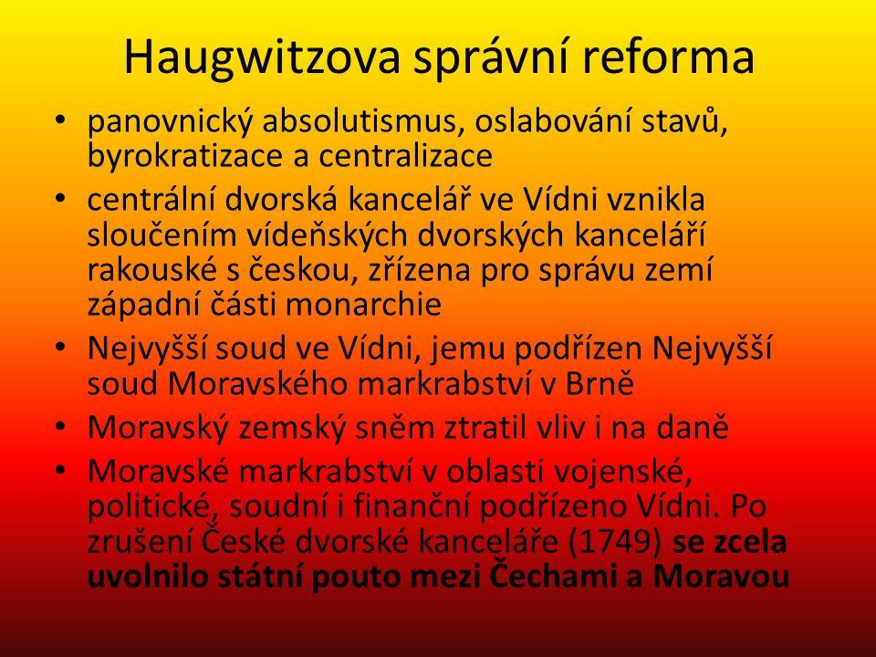 Haugwitzova správní reforma panovnický absolutismus, oslabování stavů, byrokratizace a centralizace centrální dvorská kancelář ve Vídni vznikla slouče