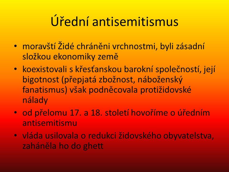 Úřední antisemitismus moravští Židé chráněni vrchnostmi, byli zásadní složkou ekonomiky země koexistovali s křesťanskou barokní společností, její bigo