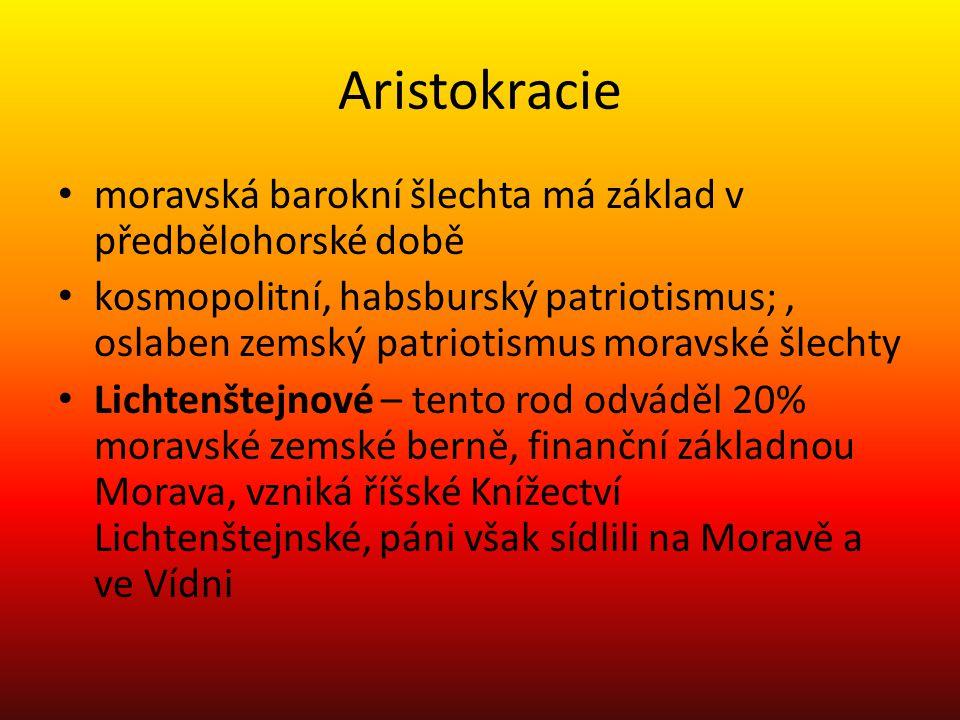 Aristokracie moravská barokní šlechta má základ v předbělohorské době kosmopolitní, habsburský patriotismus;, oslaben zemský patriotismus moravské šle