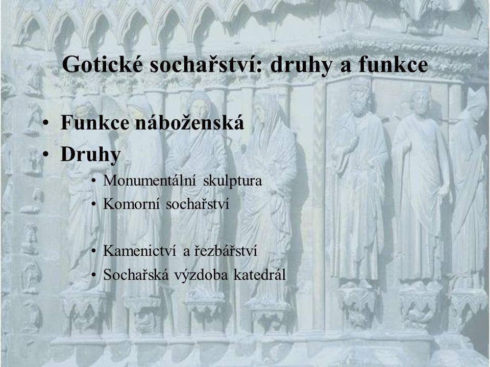 Gotické sochařství: druhy a funkce Funkce náboženská Druhy Monumentální skulptura Komorní sochařství Kamenictví a řezbářství Sochařská výzdoba katedrá