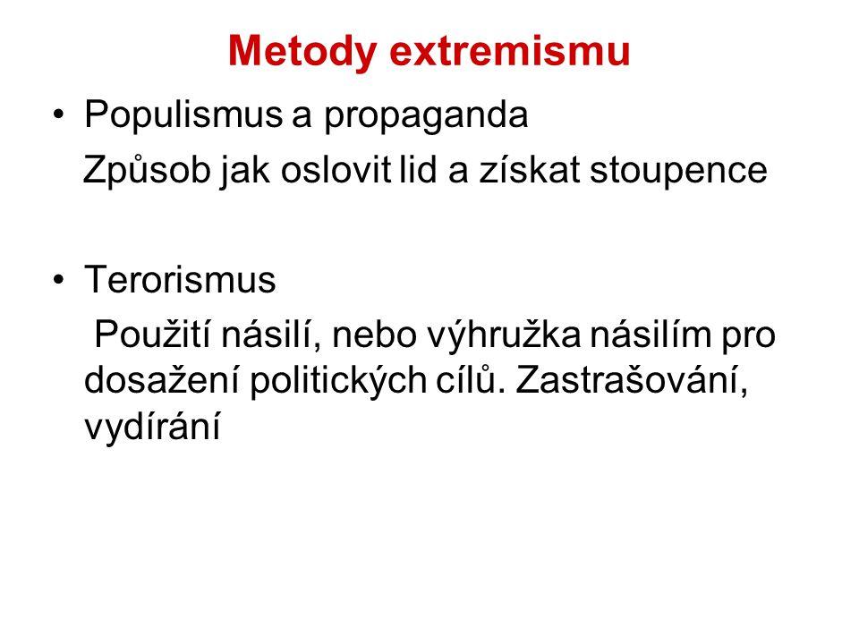 Metody extremismu Populismus a propaganda Způsob jak oslovit lid a získat stoupence Terorismus Použití násilí, nebo výhružka násilím pro dosažení poli