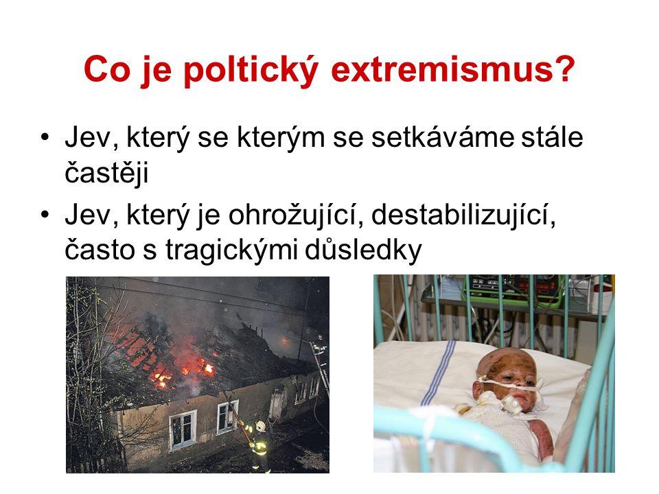 Co je poltický extremismus? Jev, který se kterým se setkáváme stále častěji Jev, který je ohrožující, destabilizující, často s tragickými důsledky