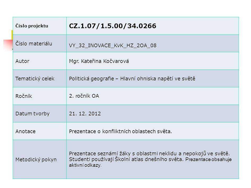 Číslo projektu CZ.1.07/1.5.00/34.0266 Číslo materiálu VY_32_INOVACE_KvK_HZ_2OA_08 Autor Mgr. Kateřina Kočvarová Tematický celek Politická geografie –