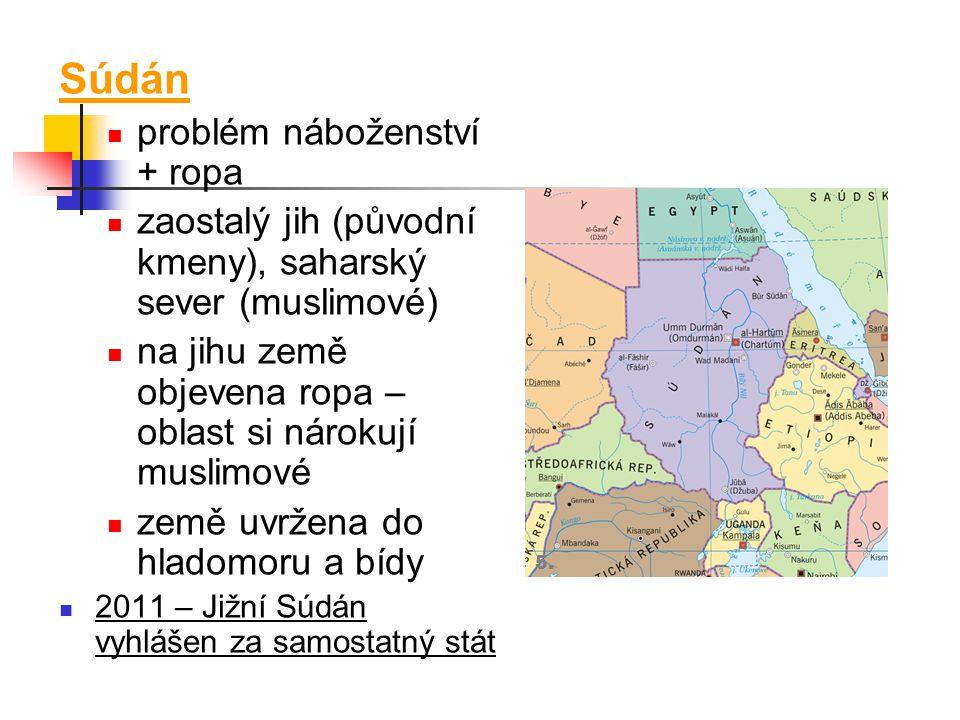Súdán problém náboženství + ropa zaostalý jih (původní kmeny), saharský sever (muslimové) na jihu země objevena ropa – oblast si nárokují muslimové ze