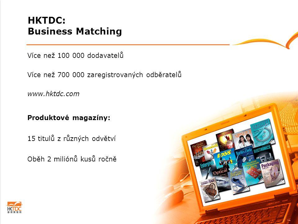 Více než 100 000 dodavatelů Více než 700 000 zaregistrovaných odběratelů www.hktdc.com Produktové magazíny: 15 titulů z různých odvětví Oběh 2 miliónů