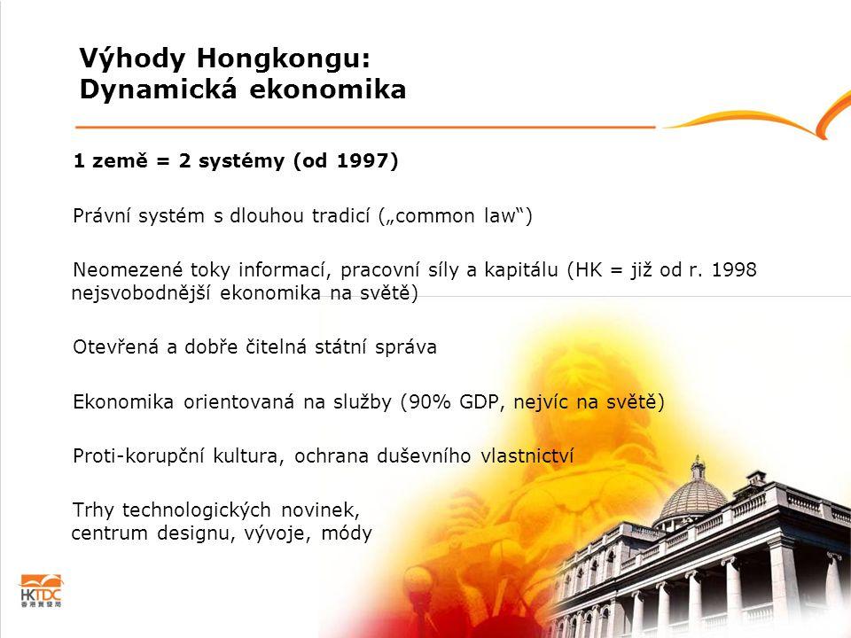 """Výhody Hongkongu: Dynamická ekonomika 1 země = 2 systémy (od 1997) Právní systém s dlouhou tradicí (""""common law"""") Neomezené toky informací, pracovní s"""