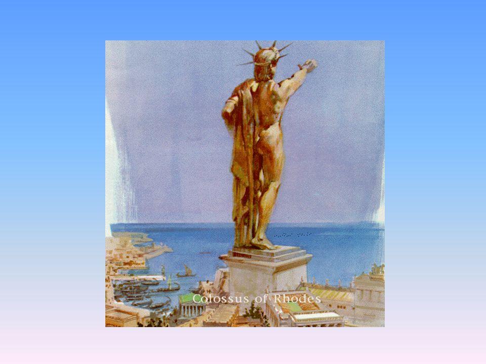 Kolos Rhodský Bronzová socha boha slunce Helia, 18tinásobek velikosti člověka, leštěná- leskla se jako zlato 37 m, stavěla se 12 let R. 292 př.n.l. Na