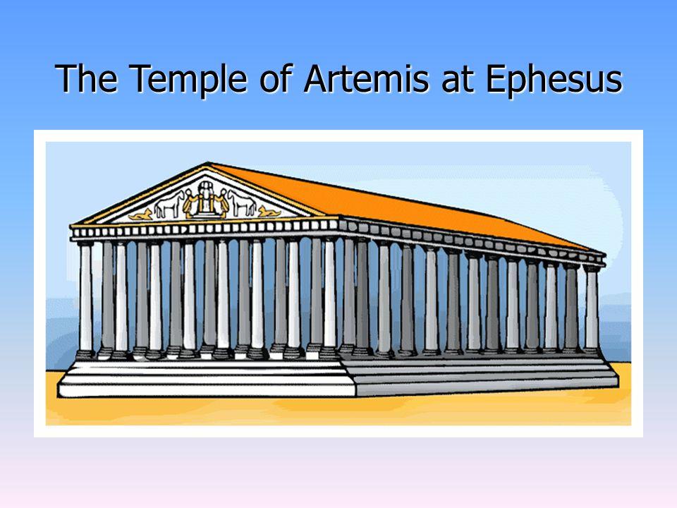 Artemidin chrám Největší chrám ve své době Zasvěcen bohyni Artemidě, bohyni měsíce a lovu 356 př.n.l. vyhořel, snad zapálen Herostratem, stejnou noc s