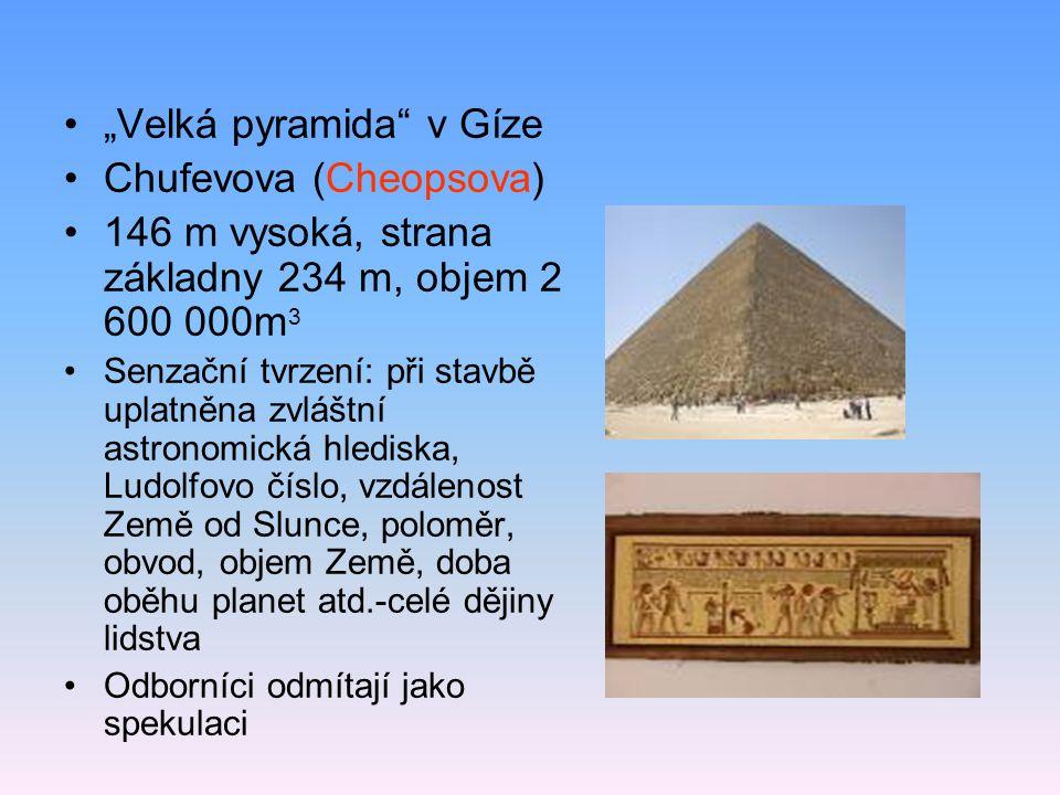 Nejstarší Džoserova- 3. tisíciletí př.n.l.- Stará a Střední říše, později se pyramidy nestaví (poslední asi 17.stol.př.n.l.) Stupňovitá, půdorys obdél